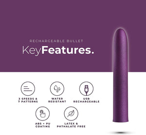 PleasureHub RECHARGEABLE VIBRATING BULLET (Purple)