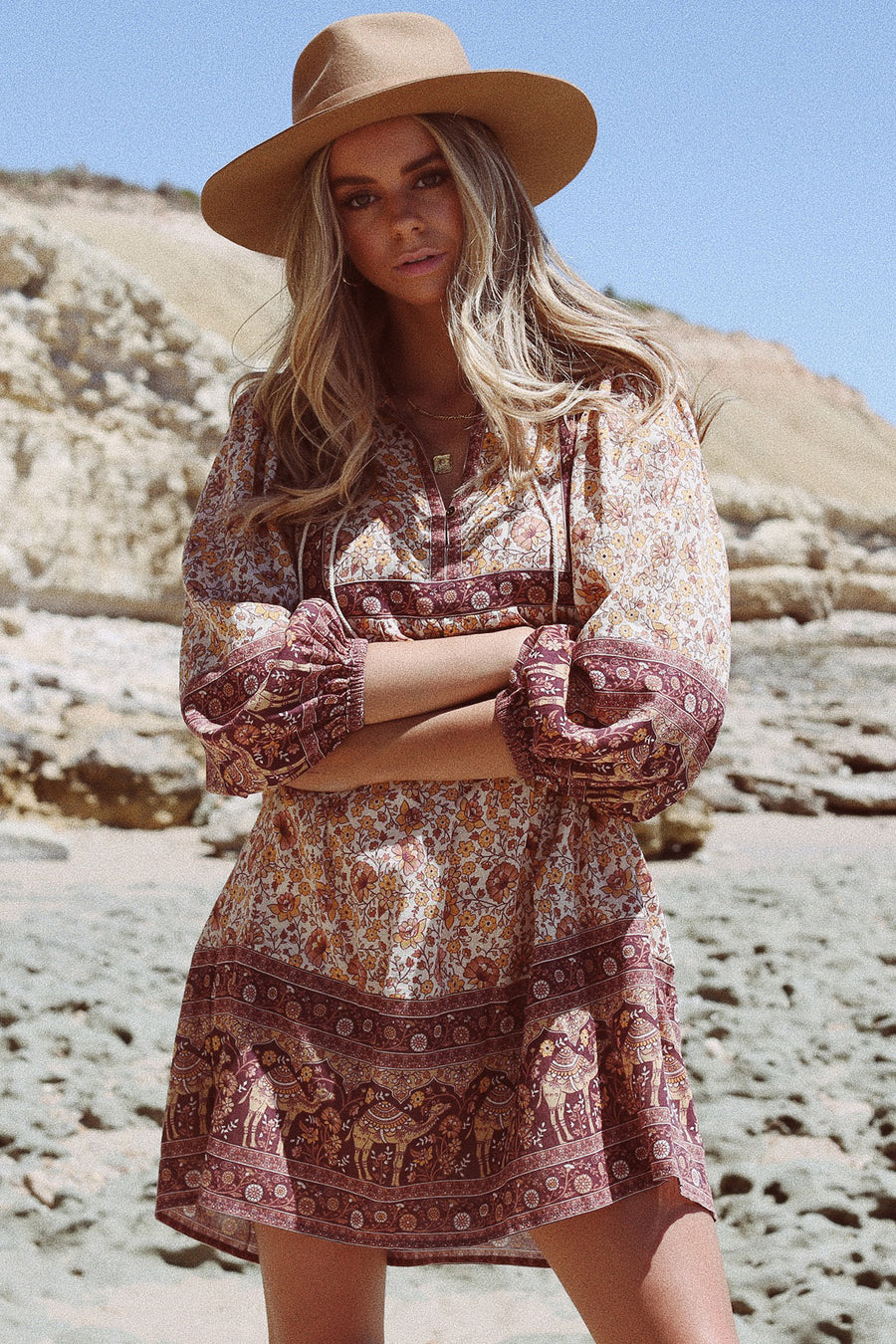 SUNDOWN BOHO MINI DRESS SPICE