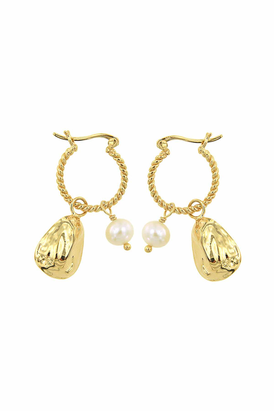 PEARL AND OYSTER EARRING GOLD