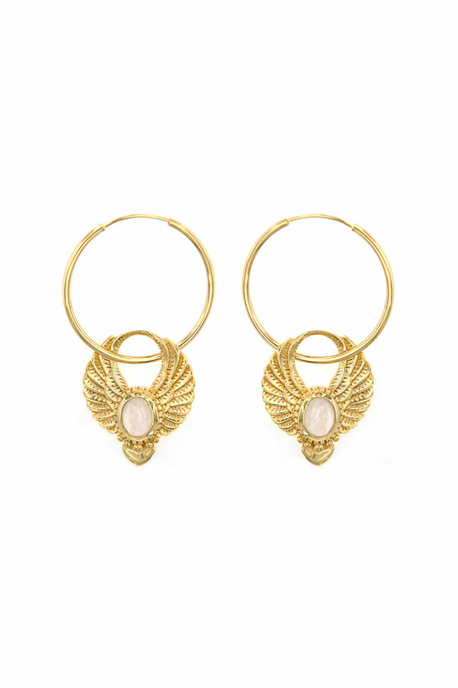 SACRED WINGS EARRINGS GOLD MOONSTONE