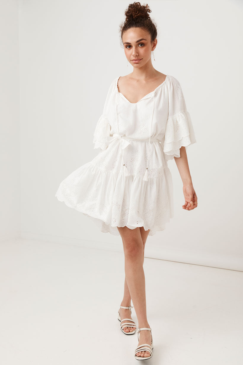 CAPULET BRODERIE ANGLAISE FRILL SMOCK DRESS