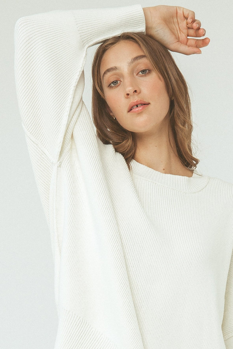 HARPER ORGANIC KNIT SWEATER CREAM