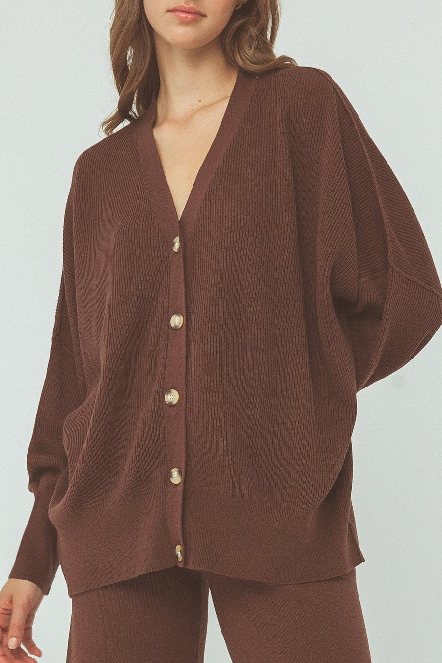 LOTTIE ORGANIC KNIT CARDIGAN CHOCOLATE