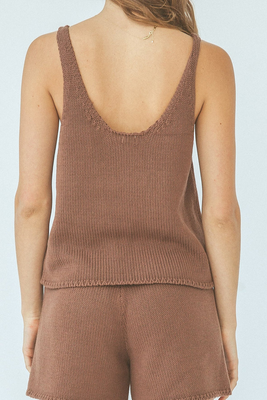 DELTA KNIT TANK CHOCOLATE