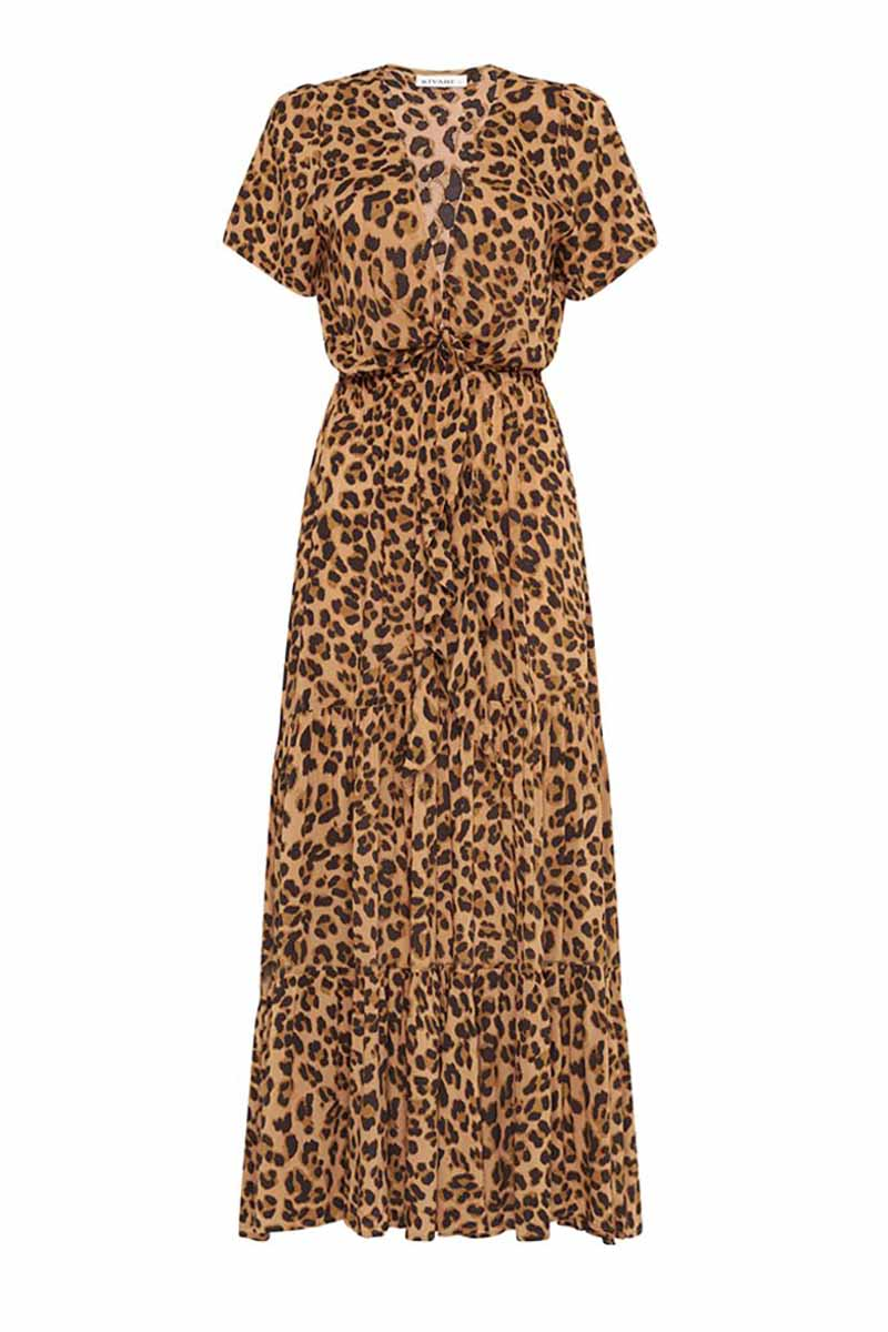 HAZEL LEOPARD TIE FRONT MAXI DRESS