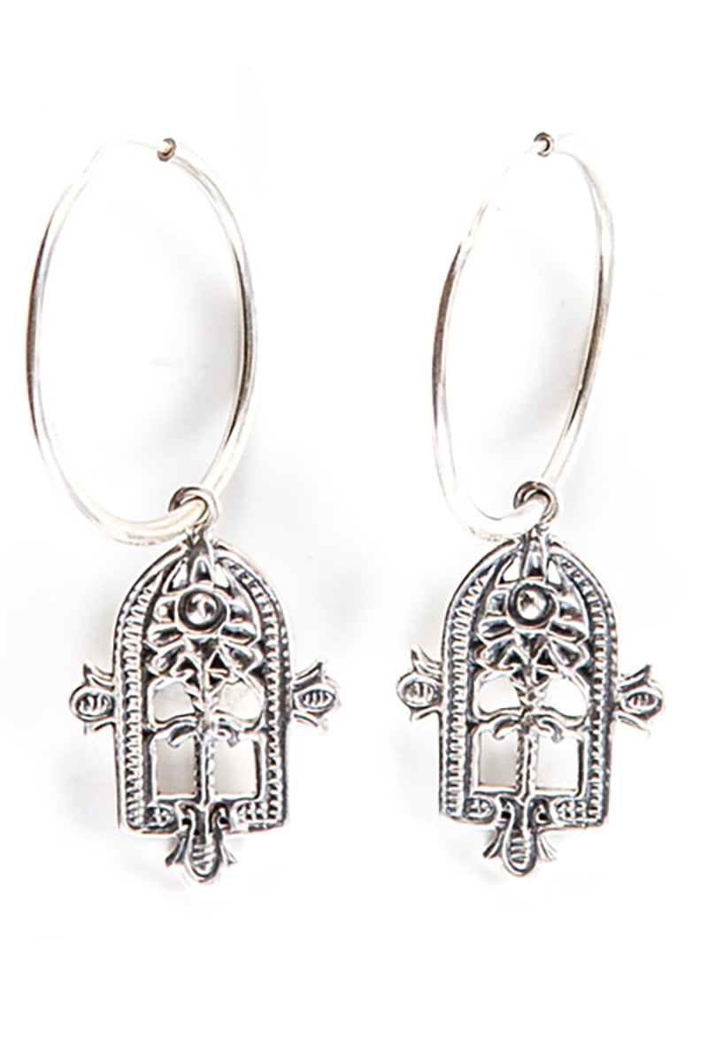 EASTERN AMULET EARRING STERLING SILVER