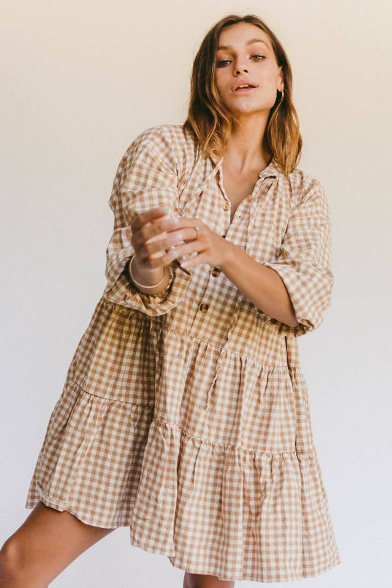 AVALON SMOCK DRESS CARAMEL GINGHAM