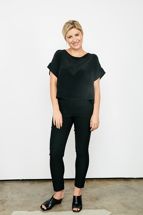 HOVER2_Georgia Tee in Silk Crepe [OS Minus] // Cecilia Pant in Stretch Cotton [2, Regular]