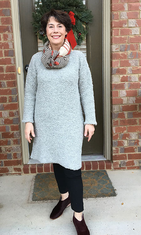 HOVER2_[a href=|/collections/signature/products/billie-sweater-dress-in-textured-wool-alpaca-fog|]Billie Sweater Dress [Fog Textured Wool/Alpaca / Medium][/a] + [a href=|/collections/signature/products/cecilia-pant-stretch-cotton|]Cecilia Pant [Black Stretch Cotton / 6 Regular][/a]