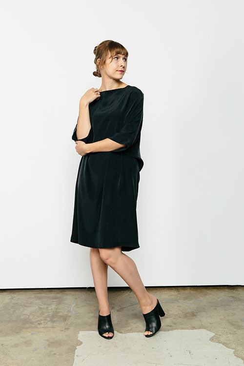 HOVER2_[a href=|/collections/signature/products/artist-dress-silk-crepe|]Artist Dress [Black Silk Crepe / OS][/a]