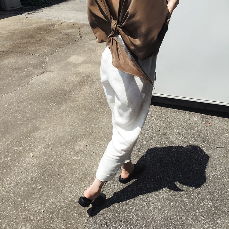 HOVER2_Stevie Tie Top in Silk Crepe [OS] // Tilda Pant in Midweight Linen [Small, Regular]