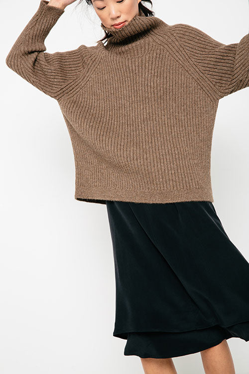 HOVER2_Meredith Turtleneck [Taupe Rib Alpaca] + Astral Dress [Black Silk Crepe]