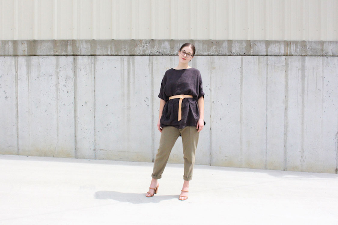 HOVER2_Harper Tunic [Charcoal Linen / OS] + Clyde Work Pant [Olive Cotton Canvas / 4 Regular]