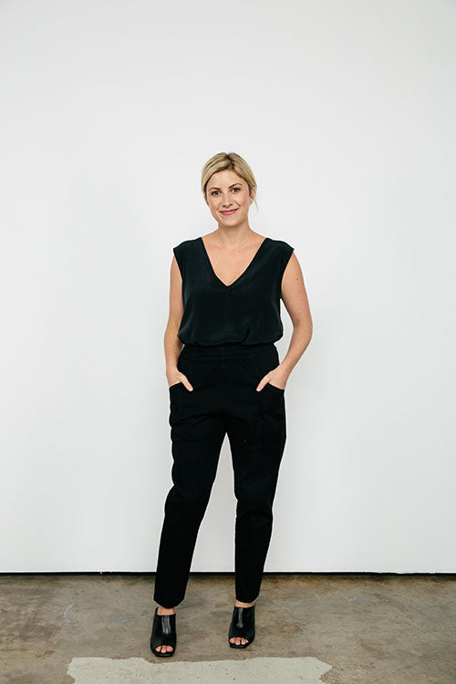 HOVER2_[a href=|/collections/signature/products/marlena-tank-silk-crepe|]Marlena Tank [Black Silk Crepe / Small][/a] + [a href=|/collections/signature/products/clyde-work-pant-cotton-twill|]Clyde Work Pant [Black Cotton Twill / 4 Regular][/a]