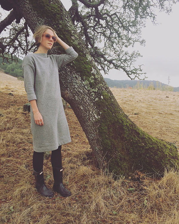 HOVER2_Eva Sweater Dress [Heather Gray Wool Flannel Twill / Small]