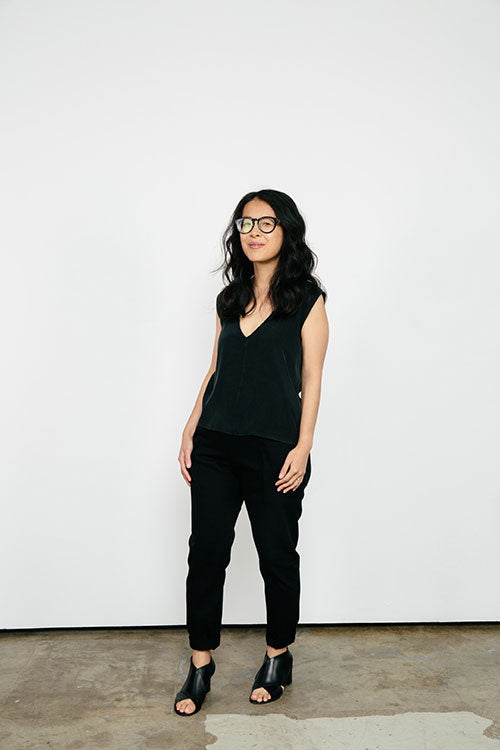 HOVER2_[a href=|/collections/signature/products/marlena-tank-silk-crepe|]Marlena Tank [Black Silk Crepe / X-Small][/a] + [a href=|/collections/signature/products/clyde-work-pant-cotton-twill|]Clyde Work Pant [Black Cotton Twill / 2 Short][/a]