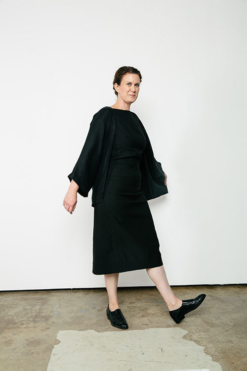 HOVER2_[a href=|/collections/signature/products/elise-dress-stretch-cotton|]Elise Dress [Black Stretch Cotton / 8 Tall][/a] + [a href=|/collections/signature/products/emma-kimono-linen|]Emma Kimono [Black Midweight Linen / OS][/a]