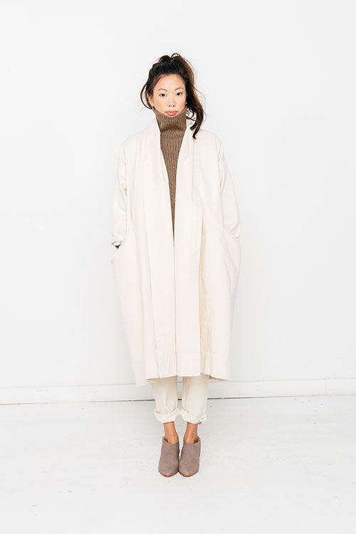 HOVER2_Meredith Turtleneck [Taupe Rib Alpaca] + Tilda Pant [Natural Cotton Canvas] + Ida Trench [Natural Cotton Canvas]