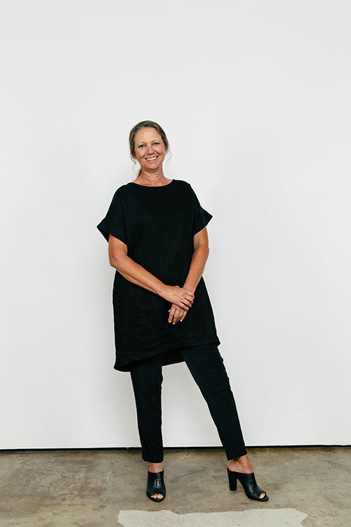 HOVER2_[a href=|/collections/signature/products/georgia-dress-linen|] Georgia Dress [Black Midweight Linen / OS][/a] + [a href=|/collections/signature/products/tilda-pant-silk-crepe|]Tilda Pant [Black Silk Crepe / Large Tall][/a]