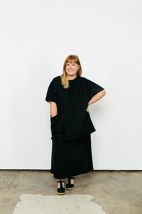 HOVER2_[a href=|/collections/signature/products/harper-tunic-cotton-twill|]Harper Tunic [Black Cotton Twill / OS Plus][/a] + [a href=|/collections/signature/products/marlena-midi-raw-silk|]Marlena Midi [Black Raw Silk Broadcloth / X-Large][/a]