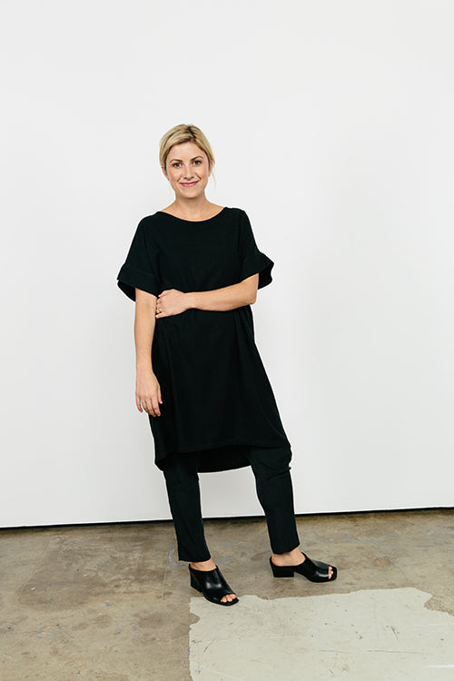 HOVER2_Georgia Dress in Midweight Linen [OS Minus] // Tilda Pant in Silk Crepe [Small, Regular]
