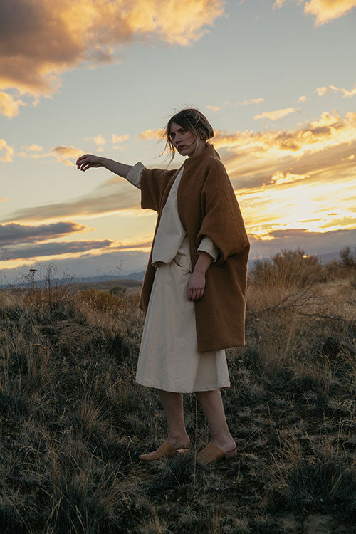 HOVER2_Cocoon Coat [Camel Heavy Basketweave Wool] + Eva Top [Natural Cotton Canvas] + Clyde Billow Skirt [Natural Cotton Canvas]