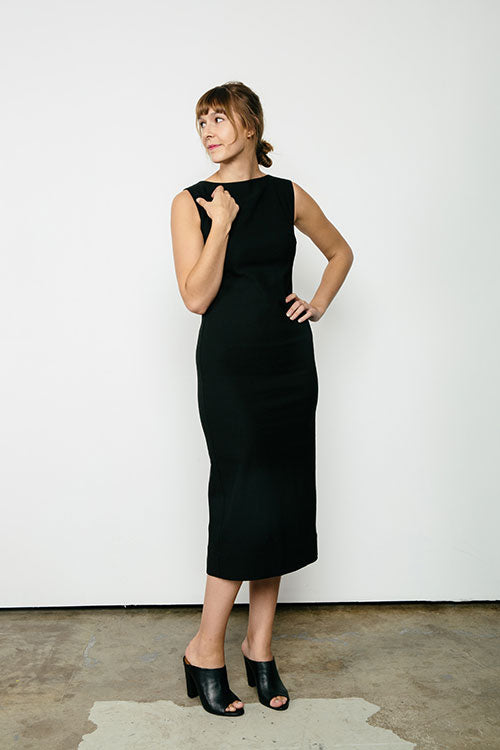 HOVER2_[a href=|/collections/signature/products/elise-dress-stretch-cotton|]Elise Dress [Black Stretch Cotton / 4 Tall][/a]