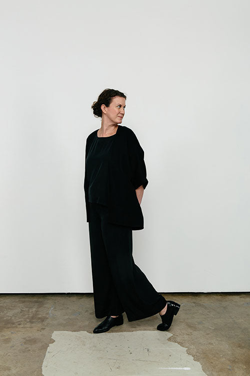 HOVER2_[a href=|/collections/signature/products/emma-kimono-cotton-twill|]Emma Kimono [Black Cotton Twill / OS][/a] + [a href=|/collections/signature/products/florence-pant-silk-crepe|]Florence Pant [Black Silk Crepe / Medium Tall][/a]