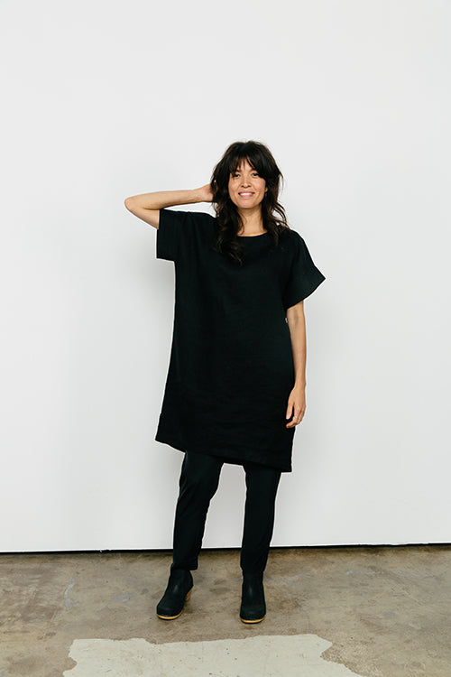 HOVER2_Georgia Dress in Midweight Linen [OS Minus] + Tilda Pant in Silk Crepe [X-Small, Regular]