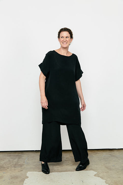 HOVER2_[a href=|/collections/signature/products/georgia-dress-silk-crepe|]Georgia Dress [Black Silk Crepe / OS][/a] + [a href=|/collections/signature/products/florence-pant-silk-crepe|]Florence Pant [Black Silk Crepe / Medium Tall][/a]