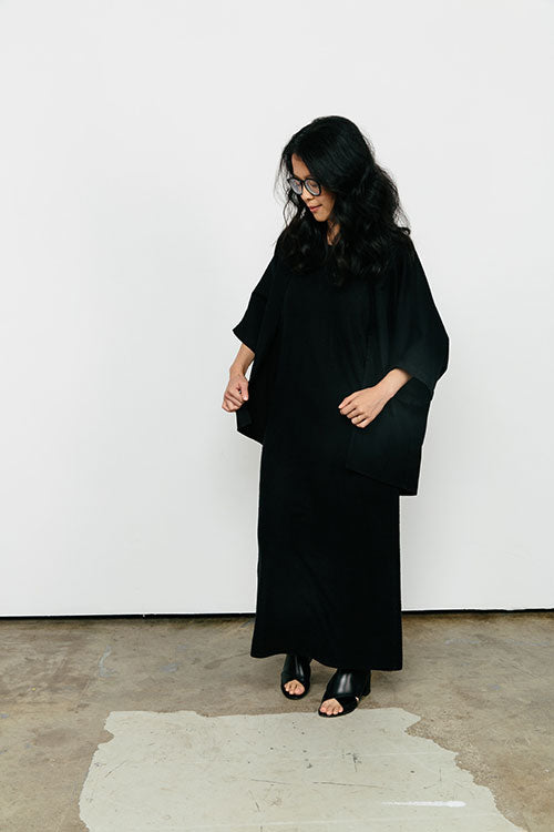 HOVER2_[a href=|/collections/signature/products/emma-kimono-cotton-twill|]Emma Kimono [Black Cotton Twill / OS Minus][/a] + [a href=|/collections/signature/products/marlena-dress-raw-silk|]Marlena Dress [Black Raw Silk Broadcloth / X-Small][/a]