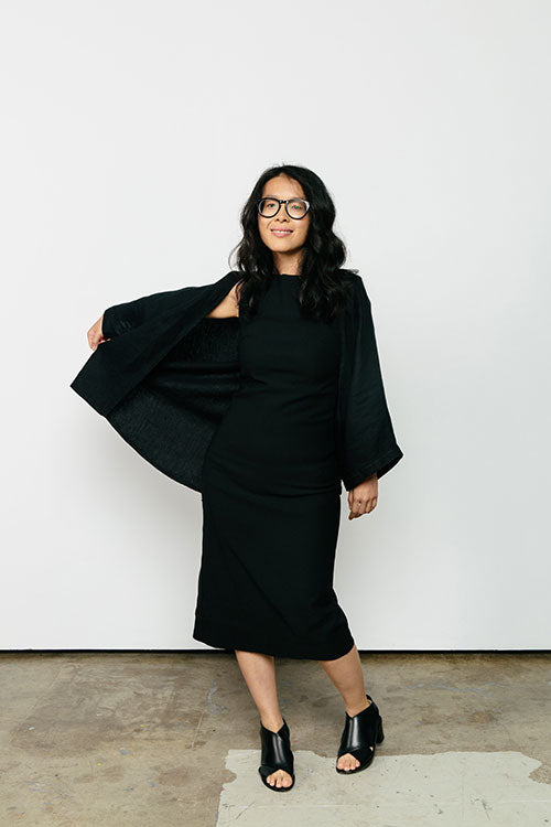 HOVER2_[a href=|/collections/signature/products/elise-dress-stretch-cotton|]Elise Dress [Black Stretch Cotton / 0 Short][/a] + [a href=|/collections/signature/products/emma-kimono-linen|]Emma Kimono [Black Midweight Linen / OS Minus][/a]
