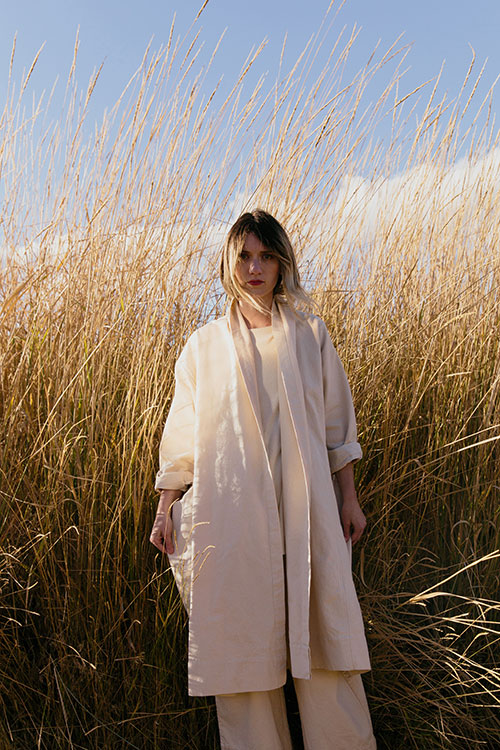 HOVER2_Ida Trench [Natural Cotton Canvas] + Eva Top [Eggshell Raw Silk Broadcloth] + Florence Pant [Natural Cotton Canvas]
