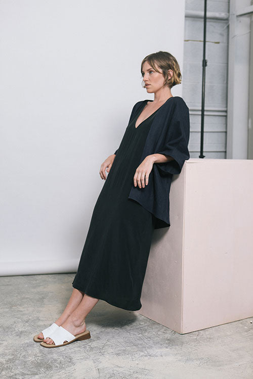 HOVER2_[a href=|/collections/signature/products/marlena-midi-silk-crepe|]Marlena Midi [Black Silk Crepe][/a] + [a href=|/collections/signature/products/emma-kimono-linen|]Emma Kimono [Navy Midweight Linen][/a]