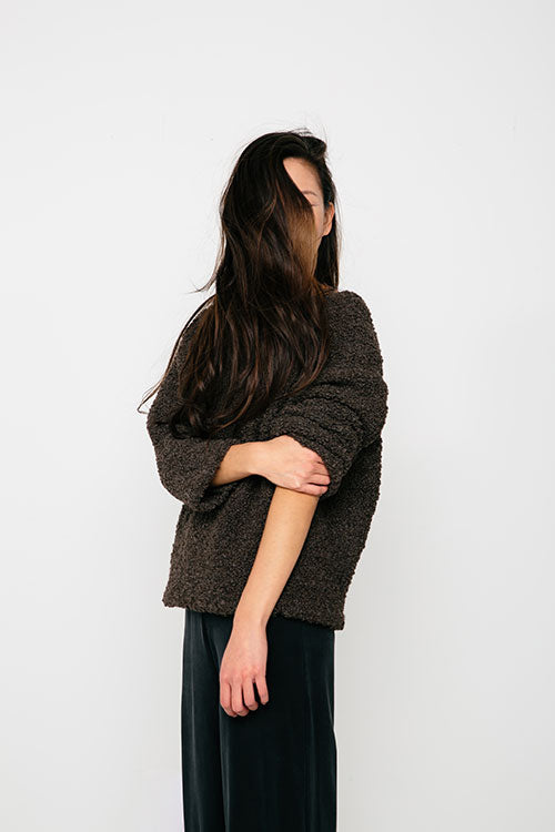 HOVER2_Billie Sweater [Loam Textured Wool/Alpaca] + Florence Pant [Black Silk Crepe]