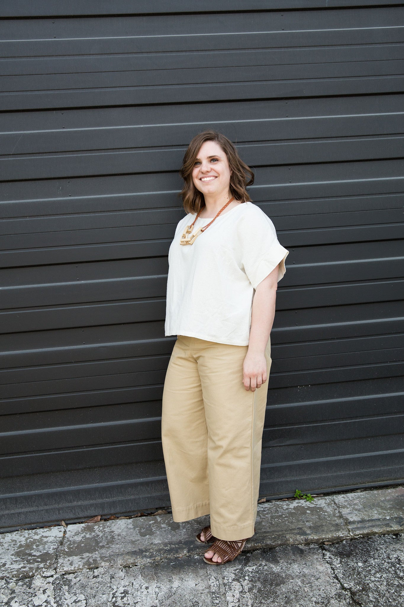 "HOVER2_""Wide leg pants are a total separation from what I'm used to, but I absolutely love the simple and effortless look of the Florence Pant paired with the Georgia Tee.""[br][br]Emily is our Customer Relations Team Leader and wears the [a href=