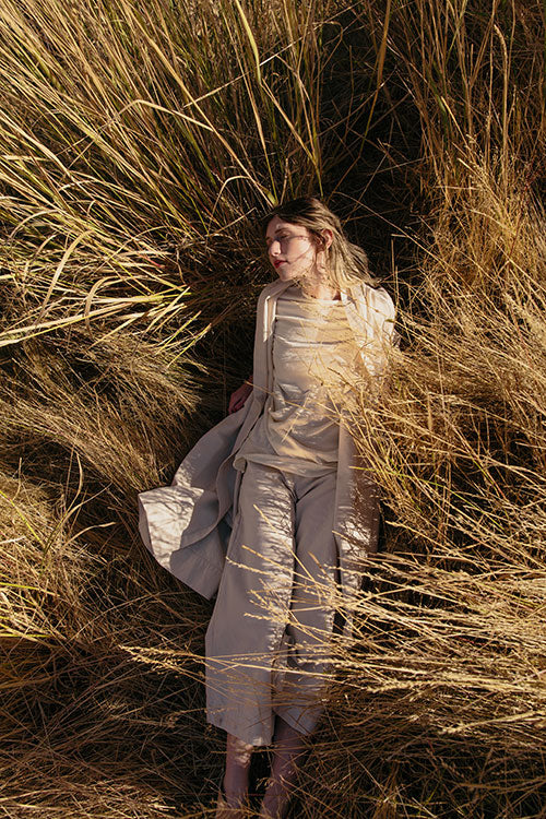 HOVER2_Ida Trench [Natural Cotton Canvas] + Eva Top [Eggshell Raw Silk Broadcloth] + Crescent Pant [Natural Cotton Canvas]