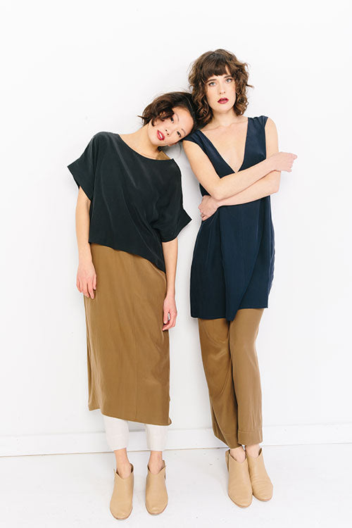HOVER2_Georgia Tee [Black Silk Crepe] + Marlena Midi [Moss Silk Crepe] + Clyde Work Pant [Natural Cotton Twill] + Marlena Dress [Navy Silk Crepe] + Florence Pant [Moss Silk Crepe]