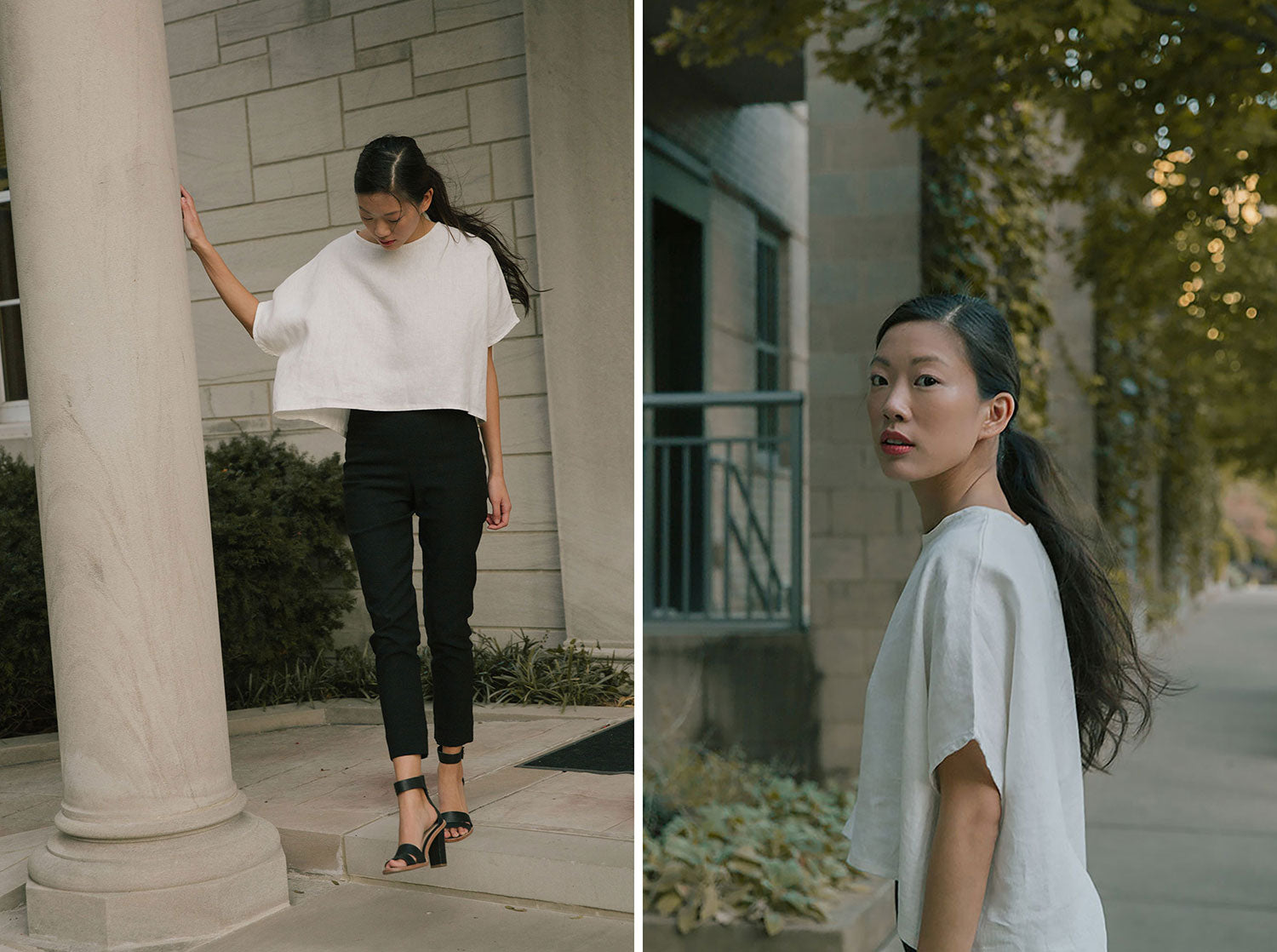 HOVER2_[a href=|/collections/signature/products/linn-tee-linen|]Linn Tee [Ivory Midweight Linen][/a] + [a href=|/collections/signature/products/cecilia-pant-stretch-cotton|]Cecilia Pant [Black Stretch Cotton][/a]
