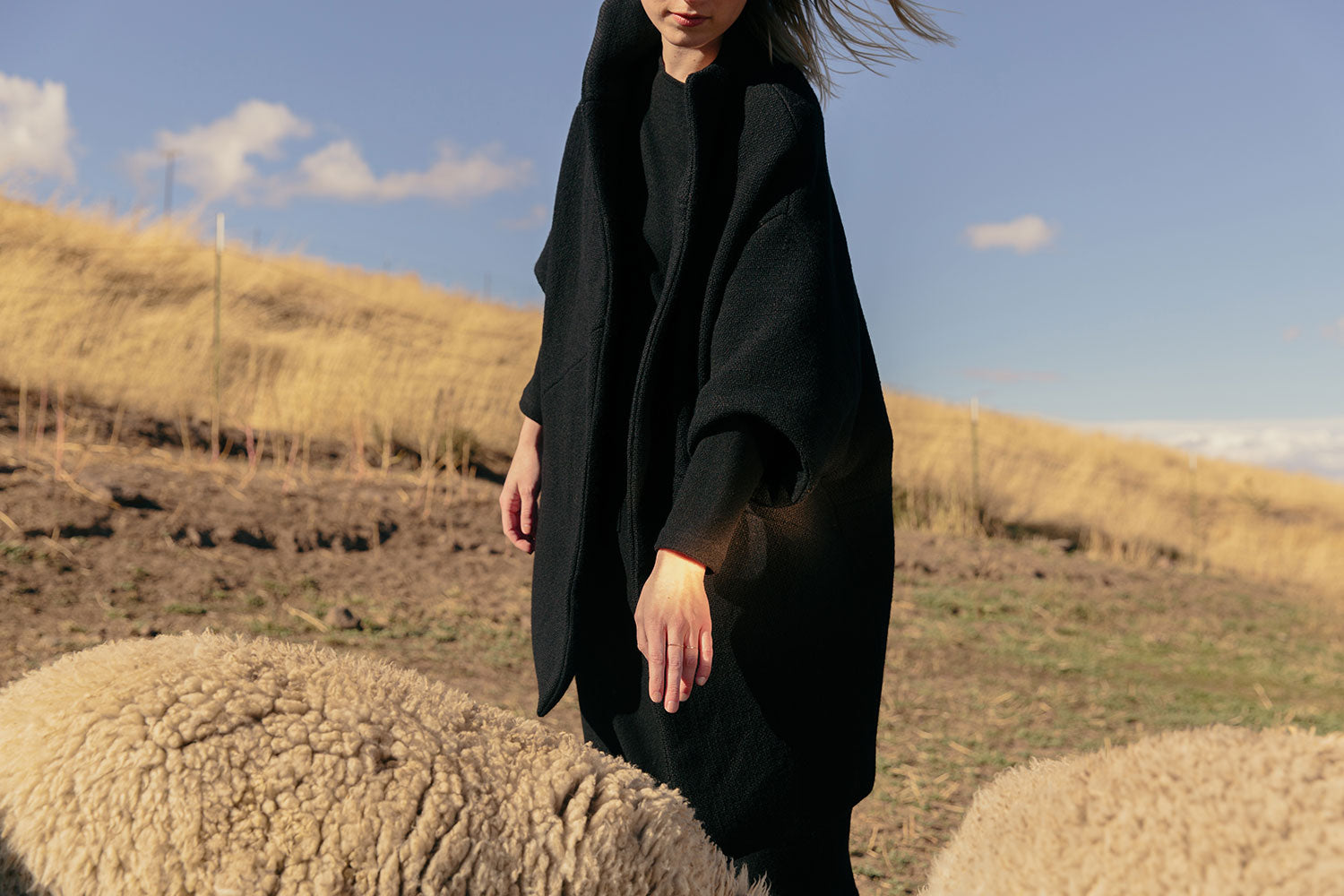 HOVER2_[a href=|/collections/cold-weather-collection/products/harper-sweater-dress-midweight-felted-wool|]Harper Sweater Dress [Black Midweight Felted Wool][/a] + [a href=|/collections/cold-weather-collection/products/cocoon-coat-heavy-basketweave-wool|]Cocoon Coat [Black Heavy Basketweave Wool][/a]