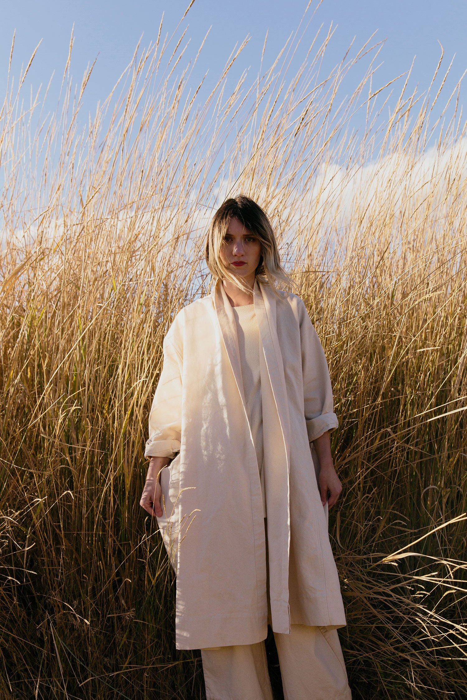 HOVER2_[a href=|/collections/cold-weather-collection/products/ida-trench-cotton-canvas|]Ida Trench [Natural Cotton Canvas][/a] + [a href=|/collections/cold-weather-collection/products/long-sleeve-harper-tunic-raw-silk-broadcloth|]Long Sleeve Harper Tunic [Eggshell Raw Silk Broadcloth][/a] + [a href=|/collections/cold-weather-collection/products/florence-pant-cotton-canvas|]Florence Pant [Natural Cotton Canvas][/a]