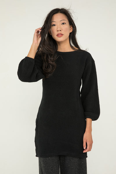 Billie Sweater Dress in Black Textured Cotton Knit