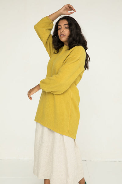 Billie Sweater Dress in Citron Textured Cotton Knit