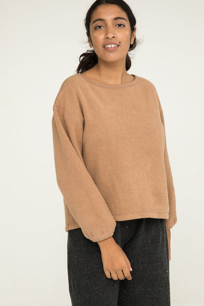 Billie Sweater in Textured Cotton Knit Caramel - Nouri-M
