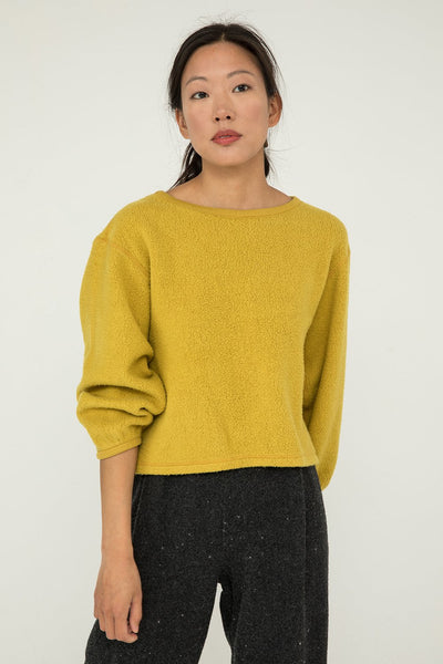 Billie Sweater in Citron Textured Cotton Knit