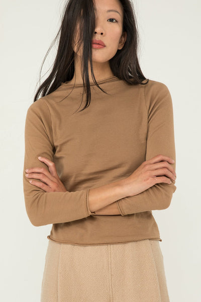 Long Sleeve James Mock Neck in Caramel Lightweight Cotton Knit