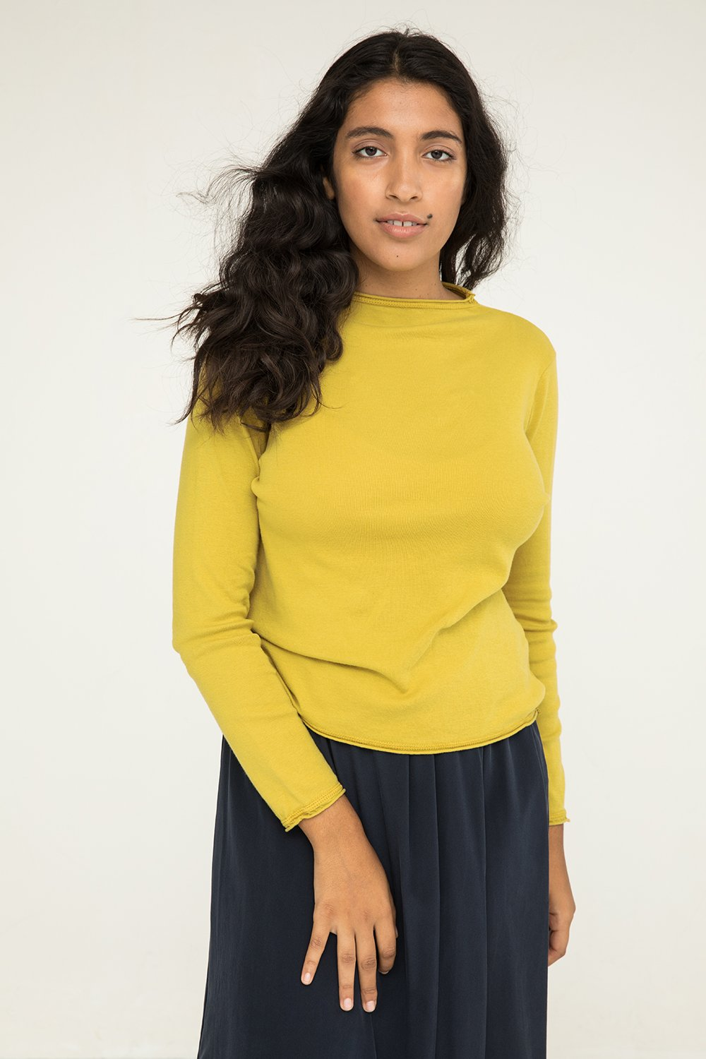 Long Sleeve James Mock Neck in Lightweight Cotton Knit Citron - Nouri-M