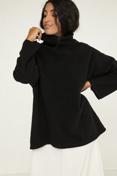 Margaret Turtleneck in Black Textured Cotton Knit