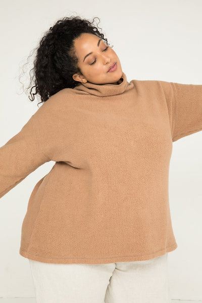 Margaret Turtleneck in Caramel Textured Cotton Knit