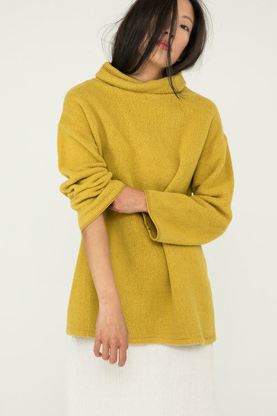 Margaret Turtleneck in Textured Cotton Knit Citron - Chung-XXS